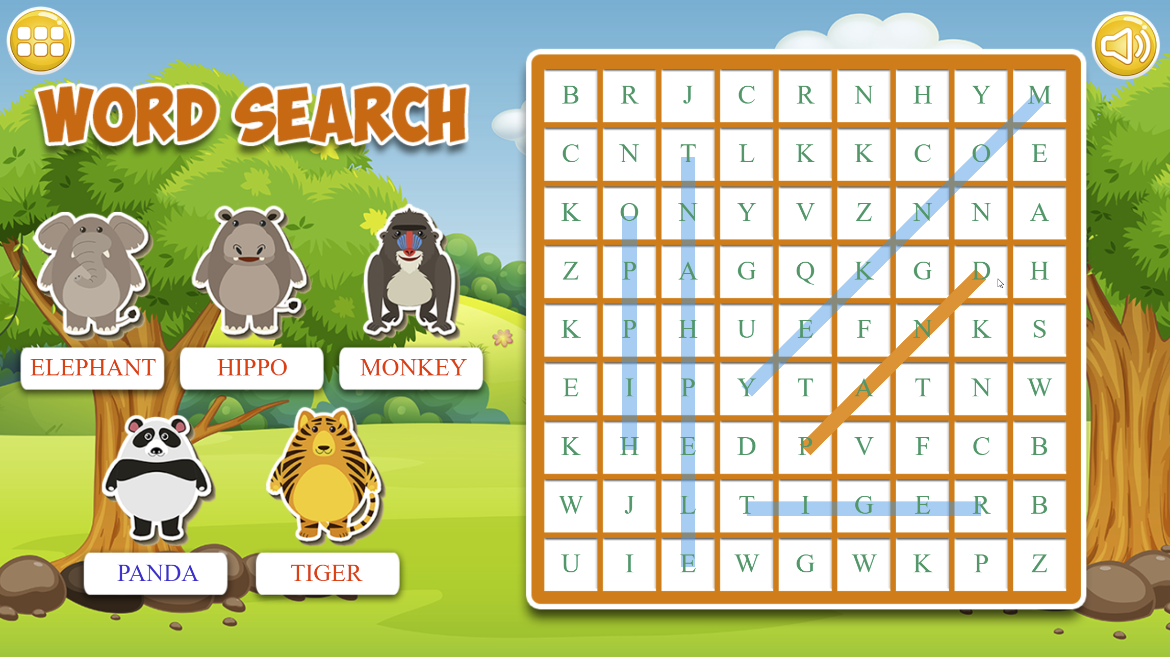 Word Search Game for Kids.