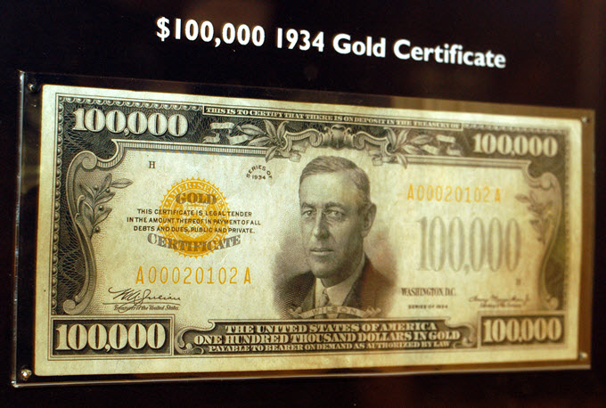 1934 United States $100,000 Gold Certificate.
