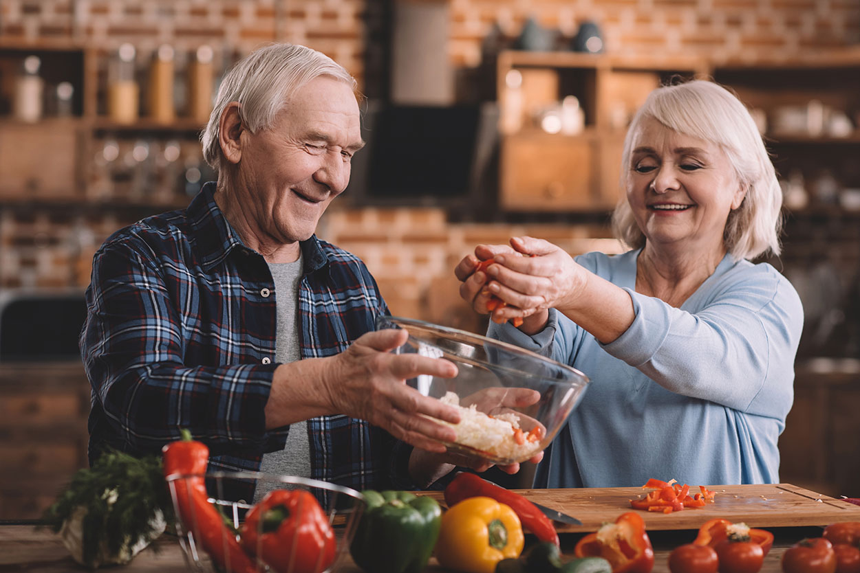 Old Couple Preparing Healthy Dinner