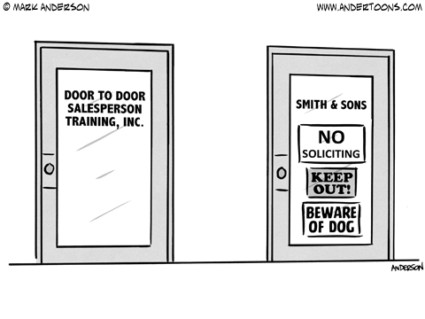 Door to Door Salesmen Cartoon.