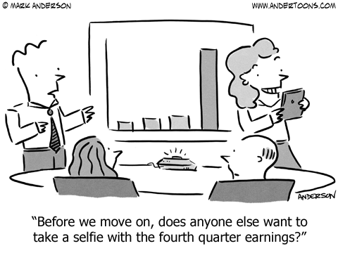 Business Earnings Selfie Cartoon.