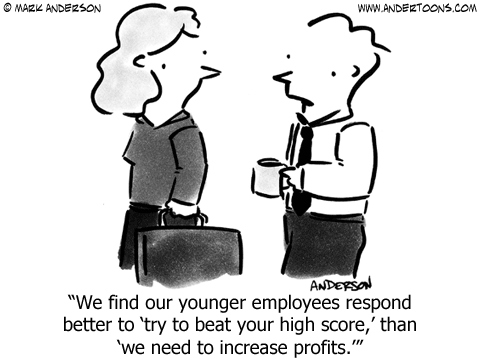 Millennial Motivation Cartoon: High Scores, Not Sales.