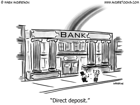 Leprechaun Direct Deposit Cartoon.
