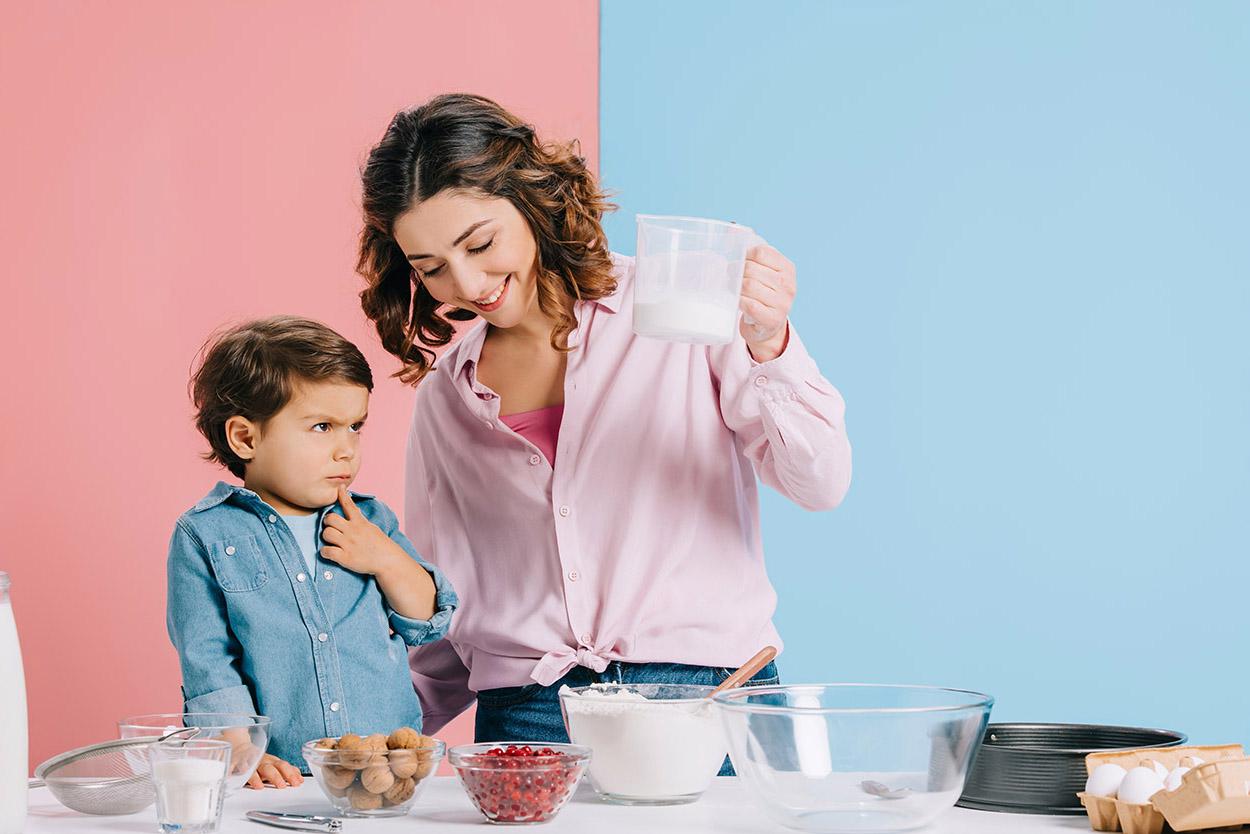 Woman measuring ingredients
