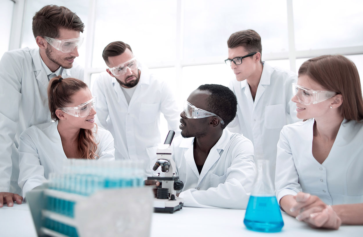 Scientists in a meeting