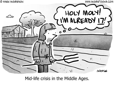 Middle Ages Midlife Crisis Cartoon.