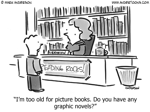 Cartoon About Graphic Novels in the Library.