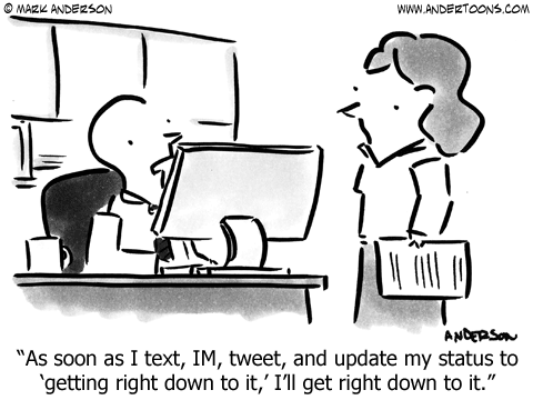 Busywork Social Media Procrastination Cartoon.