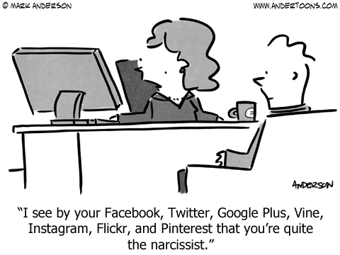 Social media narcissist psychology cartoon.