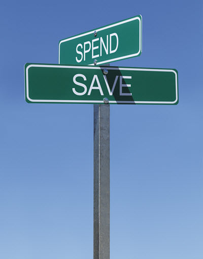 Savings Street Sign.