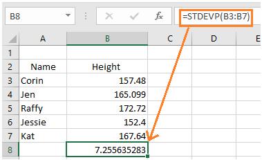 Standard deviation stdevp