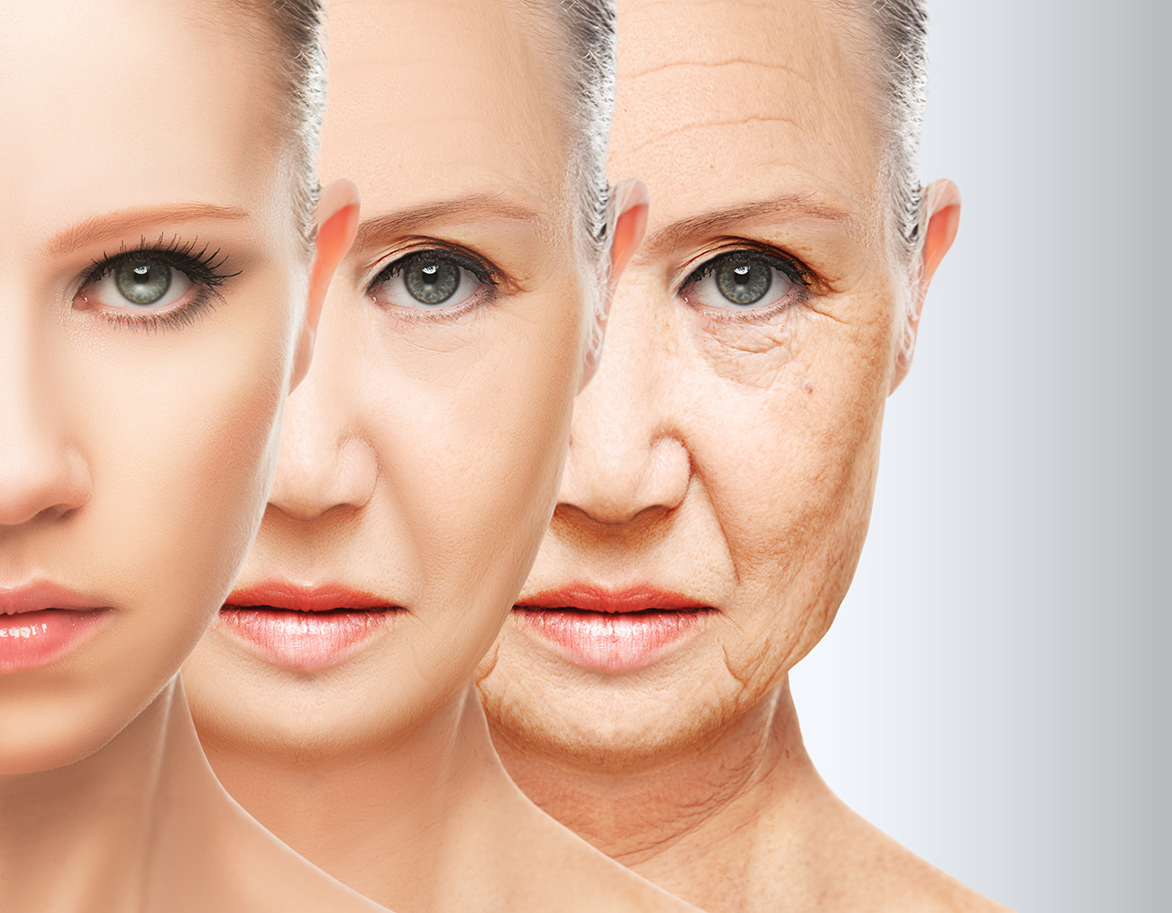 Woman's Face Aging.